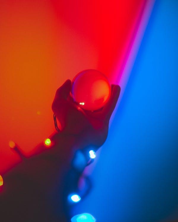 다채로운, 배경이 흐린, 불빛