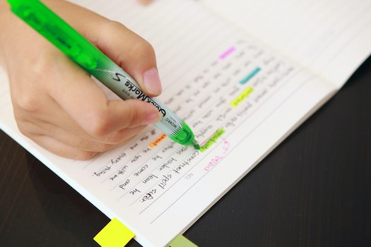 Free stock photo of notes, study, coloring, fluorescent