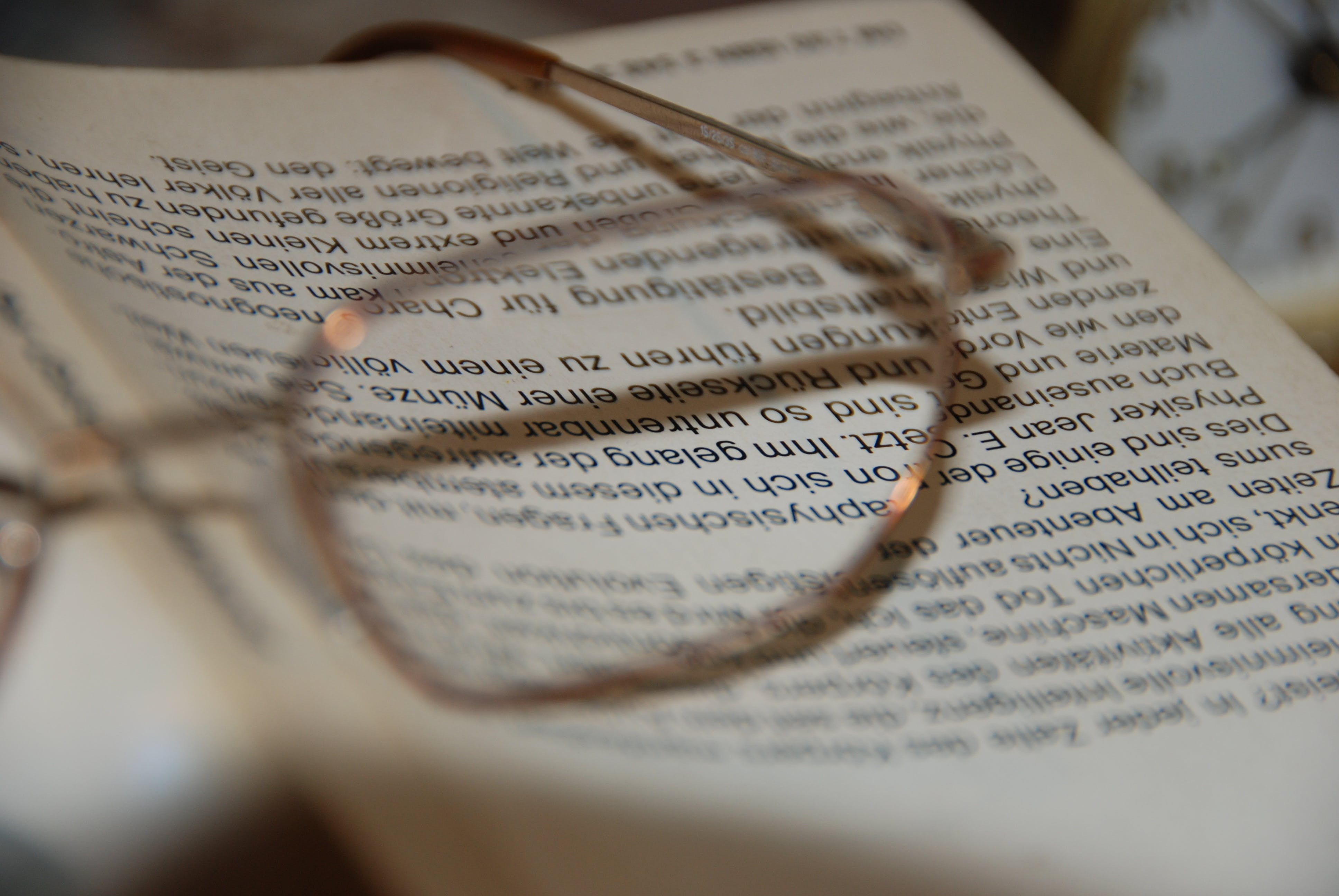Free stock photo of book, glasses, read, sharpness