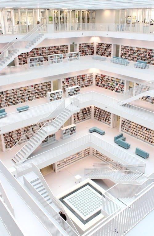 White 6-storey Library Decor
