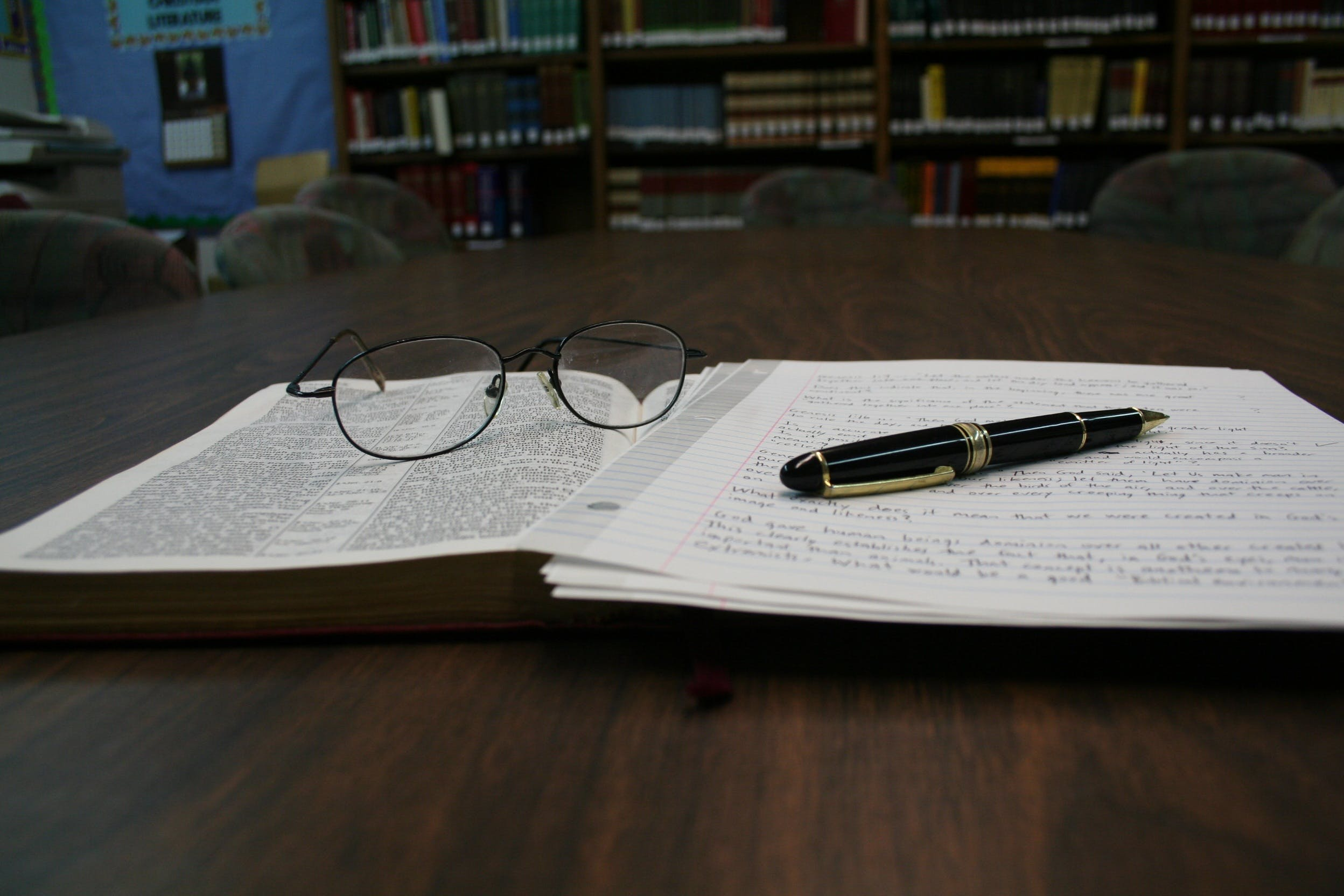 book, composition, eyeglasses