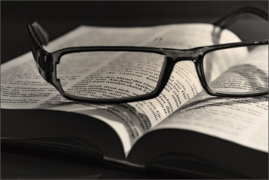 Free stock photo of black-and-white, eyewear, book, paper