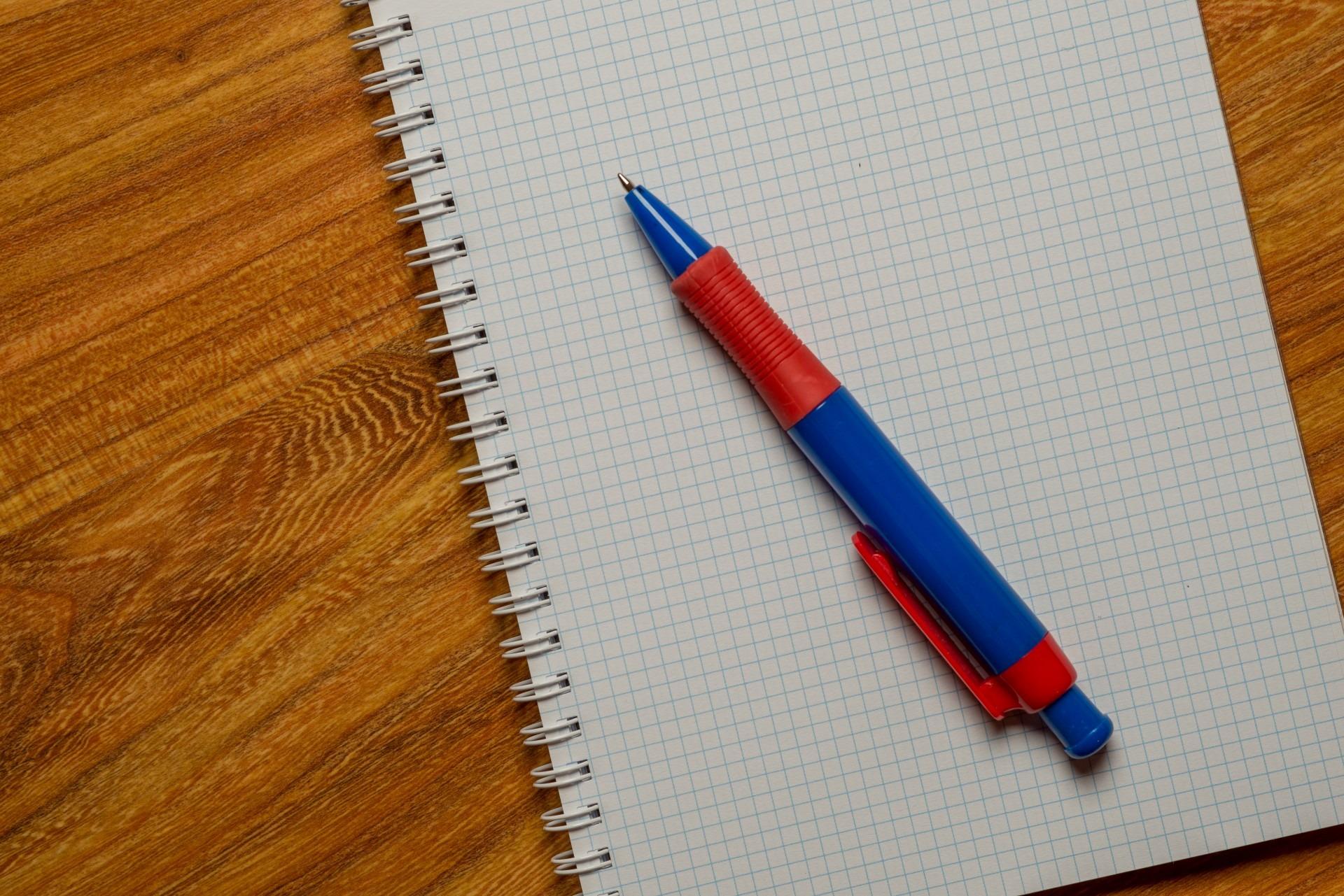Free stock photo of desk, notebook, pen, school