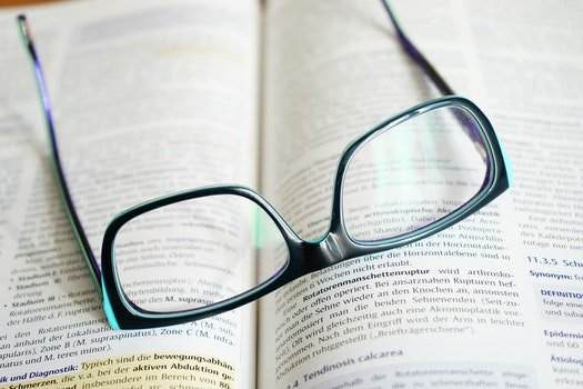 Free stock photo of writing, glasses, research, book