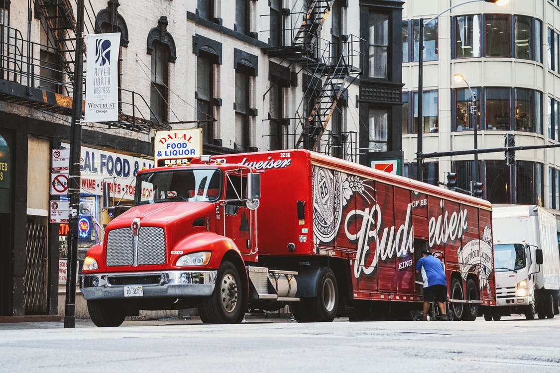 Red Budweiser Trailer Truck
