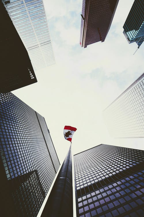 Low-Angle Photo of Canadian Flag Near Tall Buildings