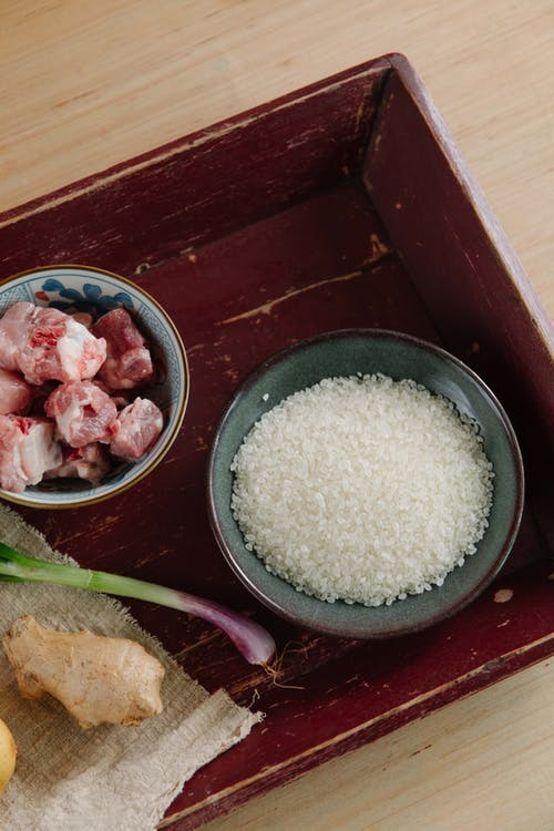Uncooked Rice And Meat