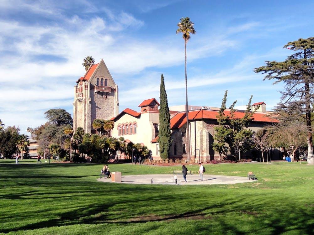 architectuur, bomen, campus