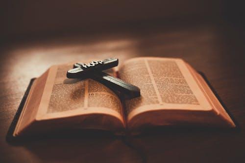 Ingyenes stockfotó barna, Biblia, kereszt, kereszt a könyv témában