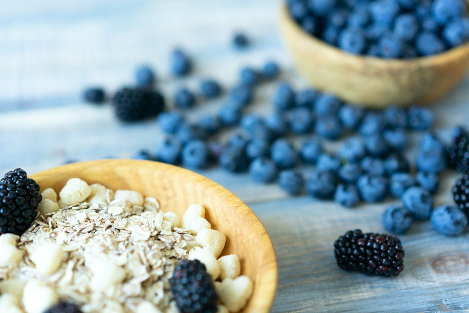 Blueberries and grain cereal