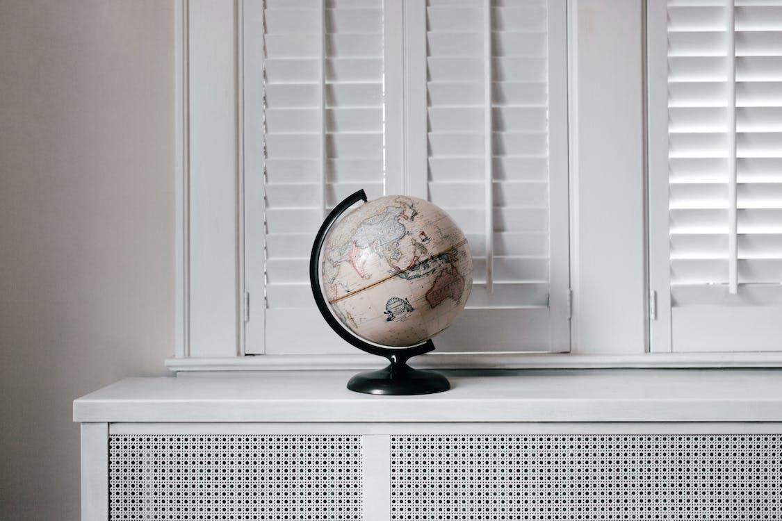 White and Black Desk Globe