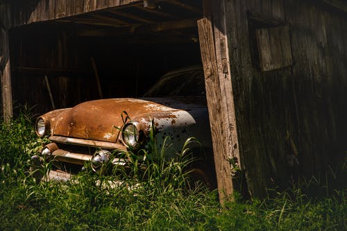 Free stock photo of abandoned, antique, barn, car