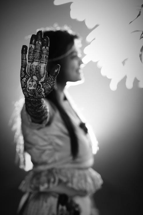 Základová fotografie zdarma na téma #černá bílá, #svatba, mehndi, nevěsta