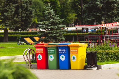 Assorted Color Plastic Trash Bins