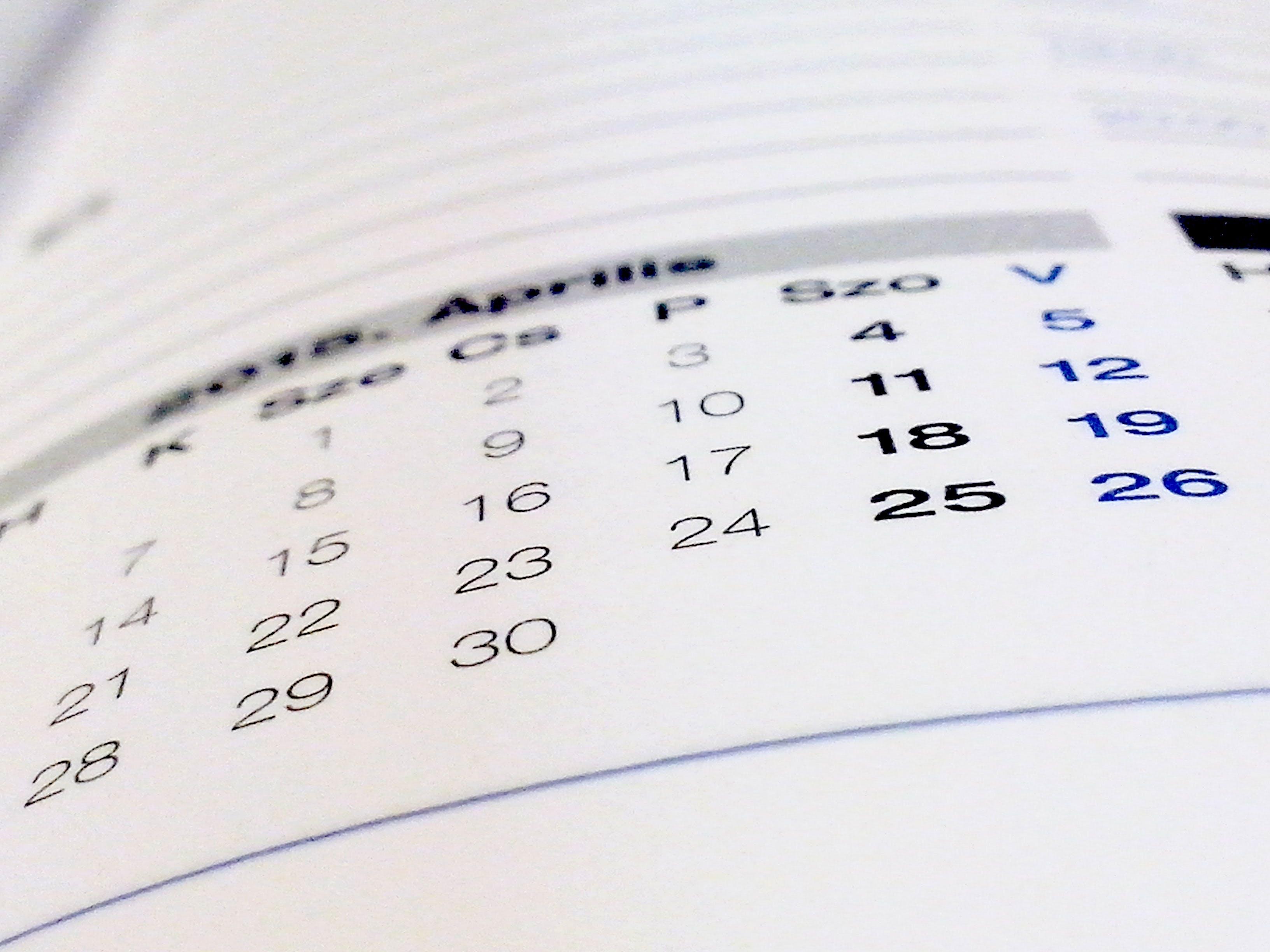 Free stock photo of calendar, book, paper