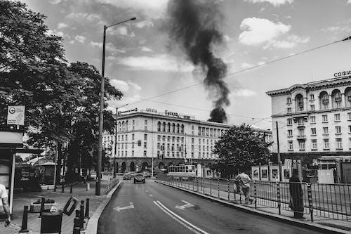 Free stock photo of black and white, city, fire, serdica