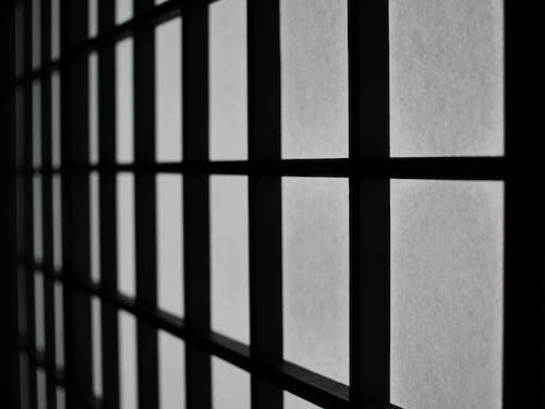 Foto d'estoc gratuïta de blanc i negre, estampat, mur, quadrats