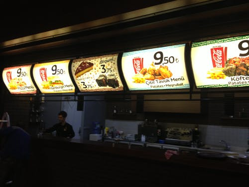 Kostenloses Stock Foto zu #metadizayn #menu # ışıklıtabela #lightbox #reklama
