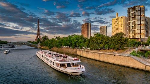 Foto d'estoc gratuïta de arbres, barca, ciutat, parís
