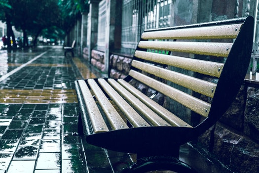Free stock photo of bench, rain, wet, pavement