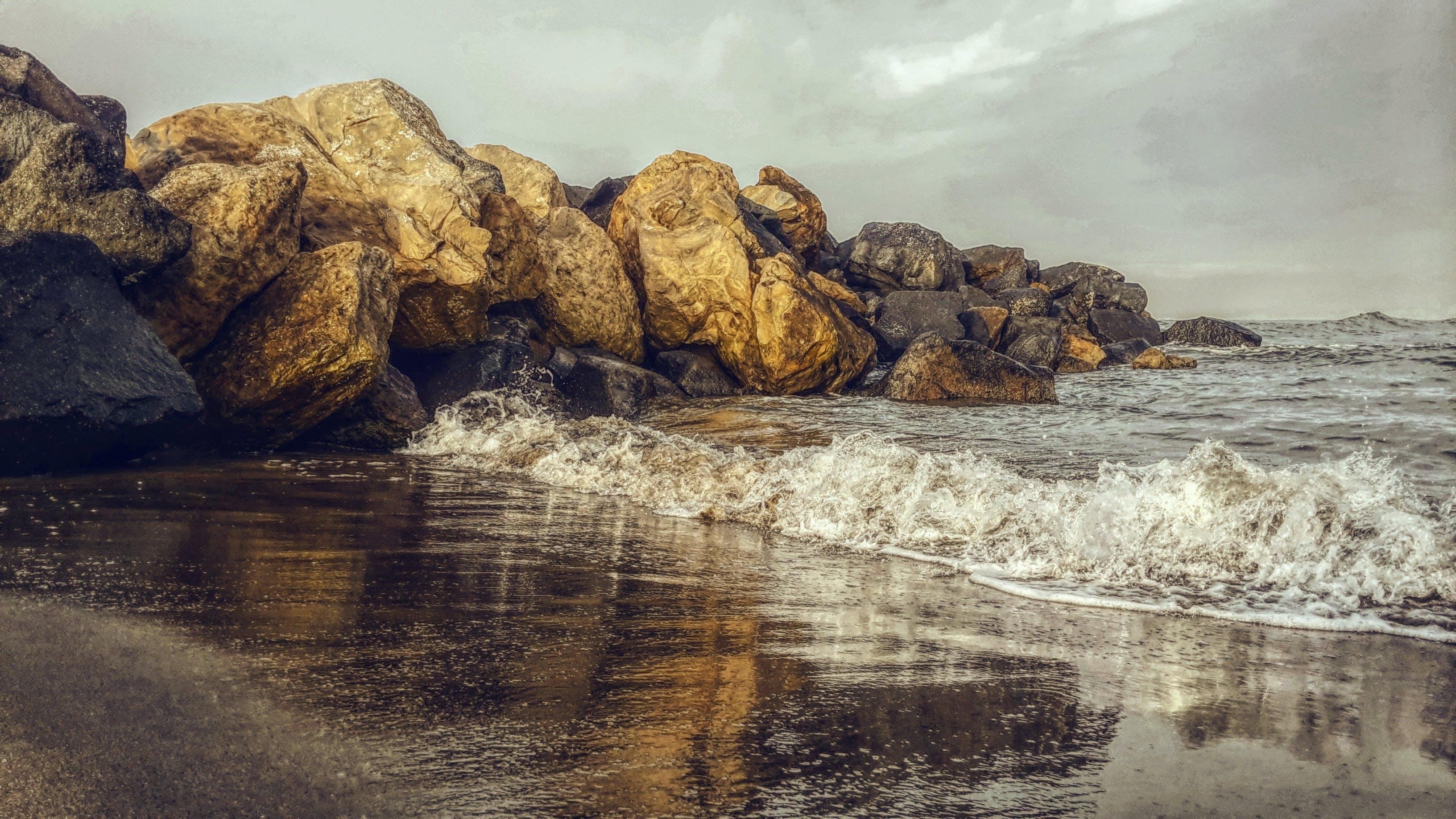 beach, beautiful, boulders