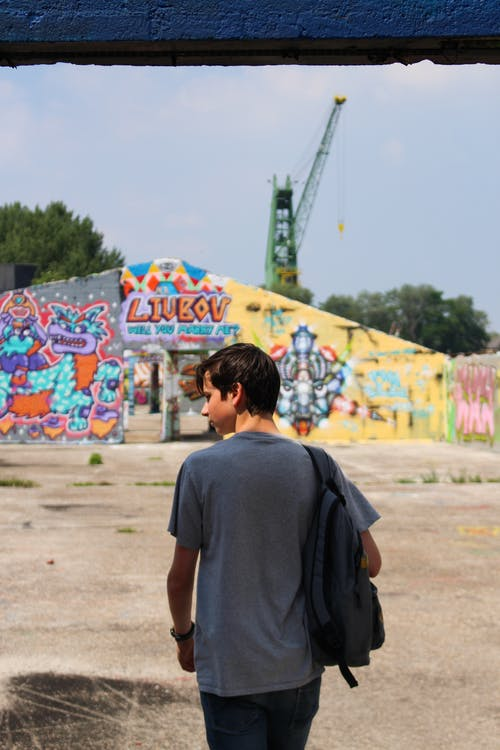 Free stock photo of backpack, color, graffiti