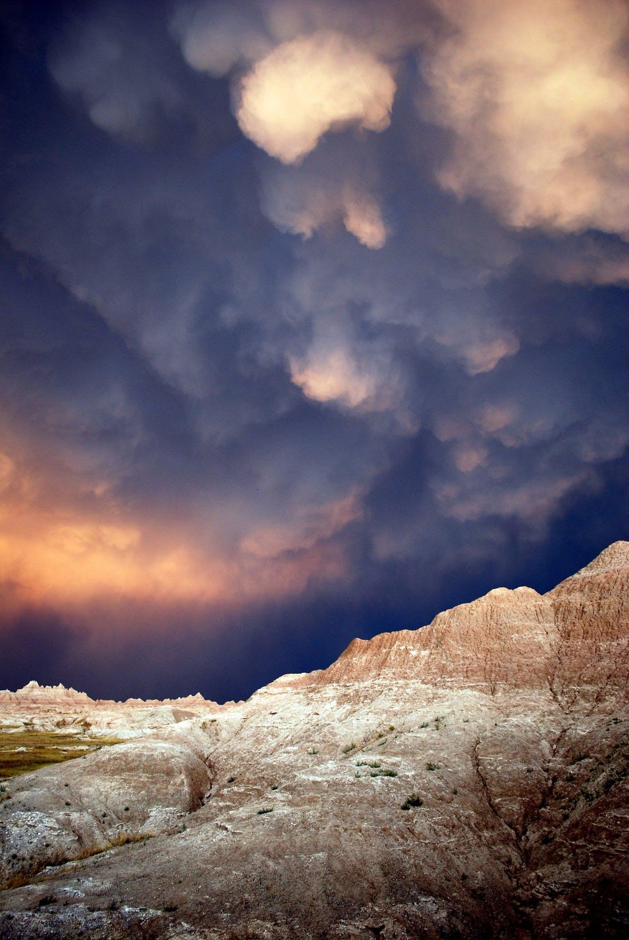 badlands national park, cloud, cloudburst