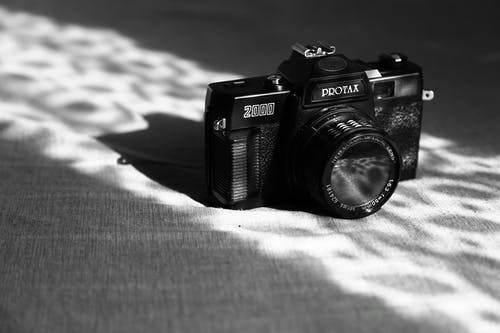 Grayscale Photo of Slr Camera