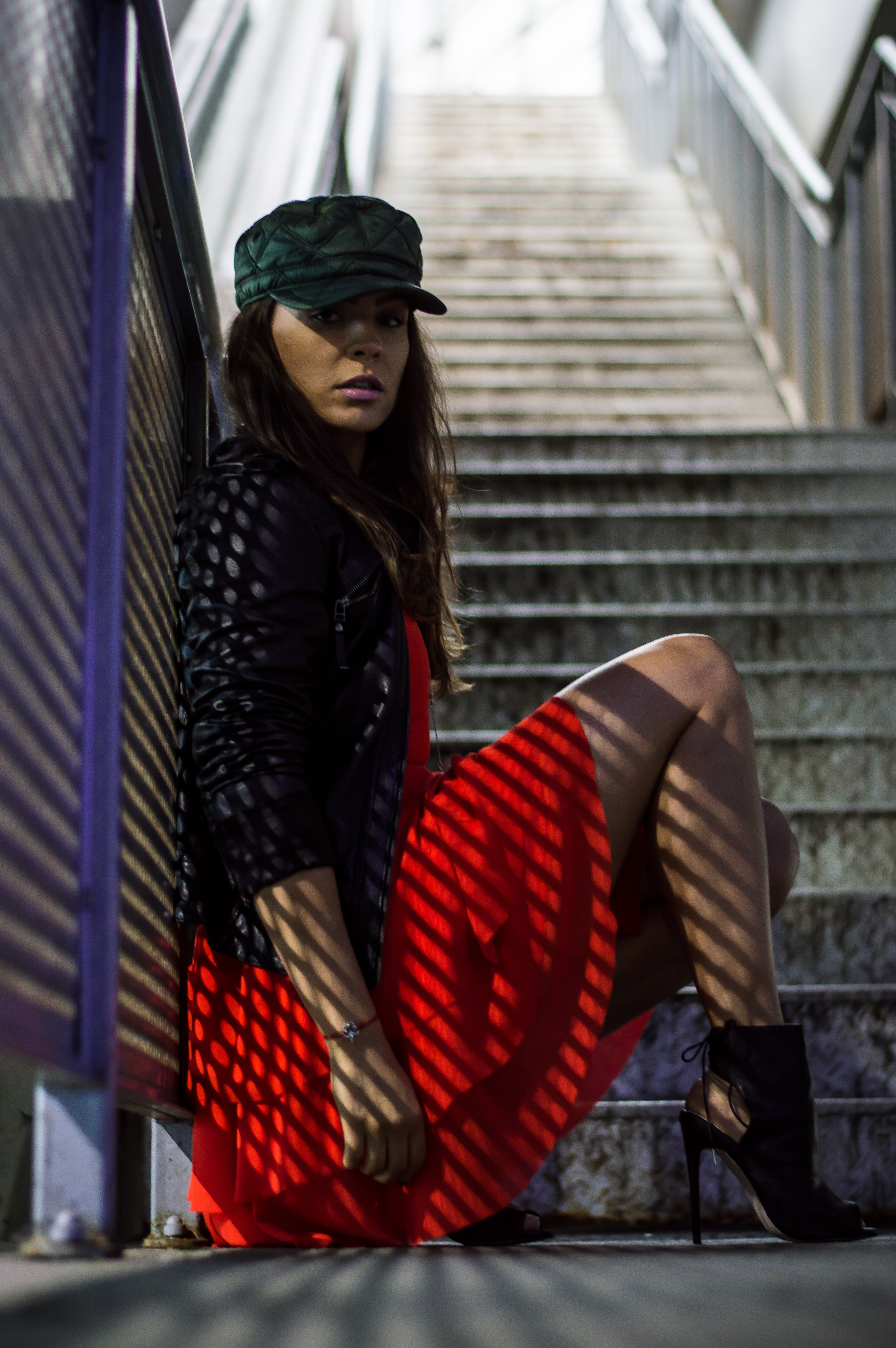 Free stock photo of stairs, fashion, red, girl
