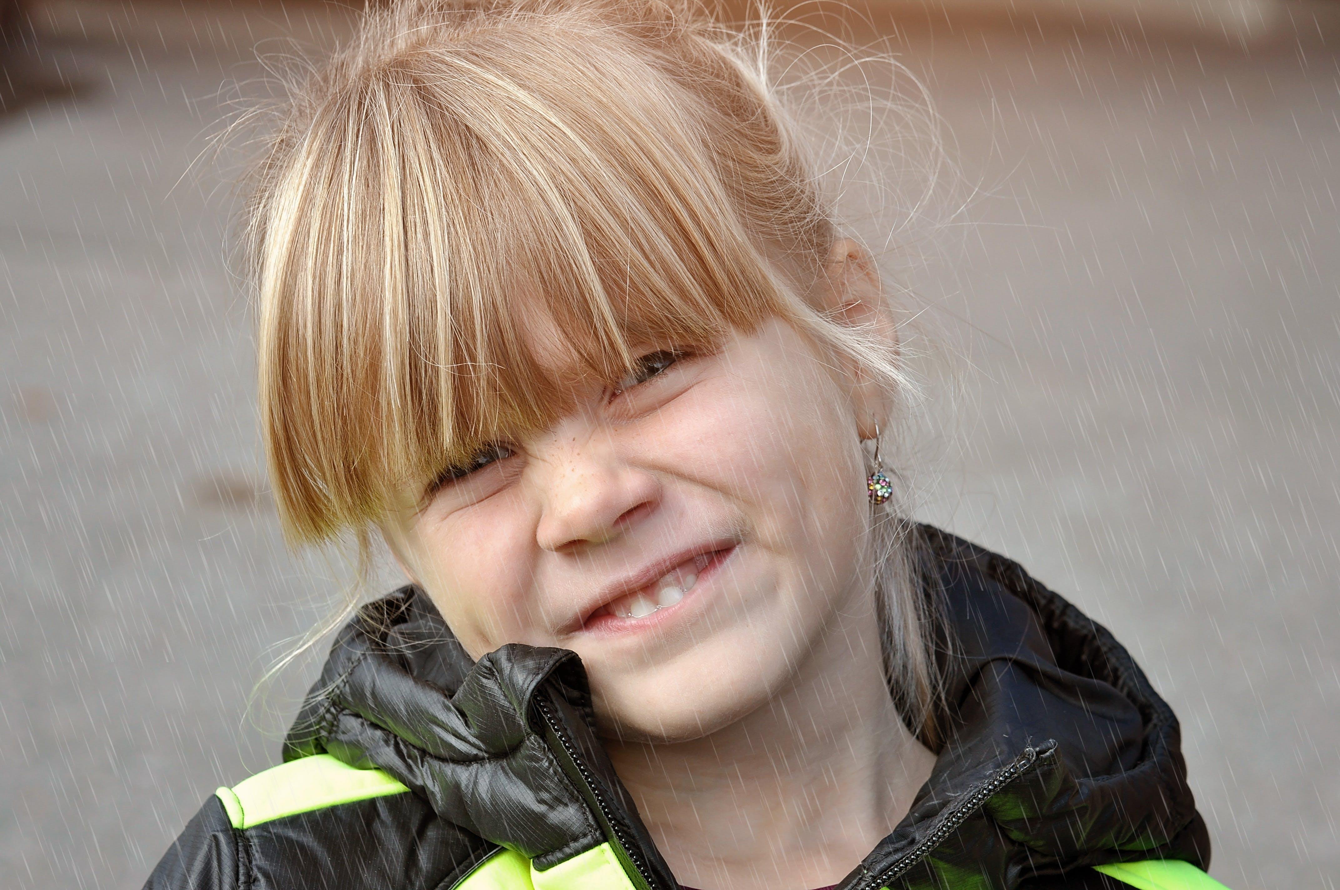 Free stock photo of girl, rain, face, child