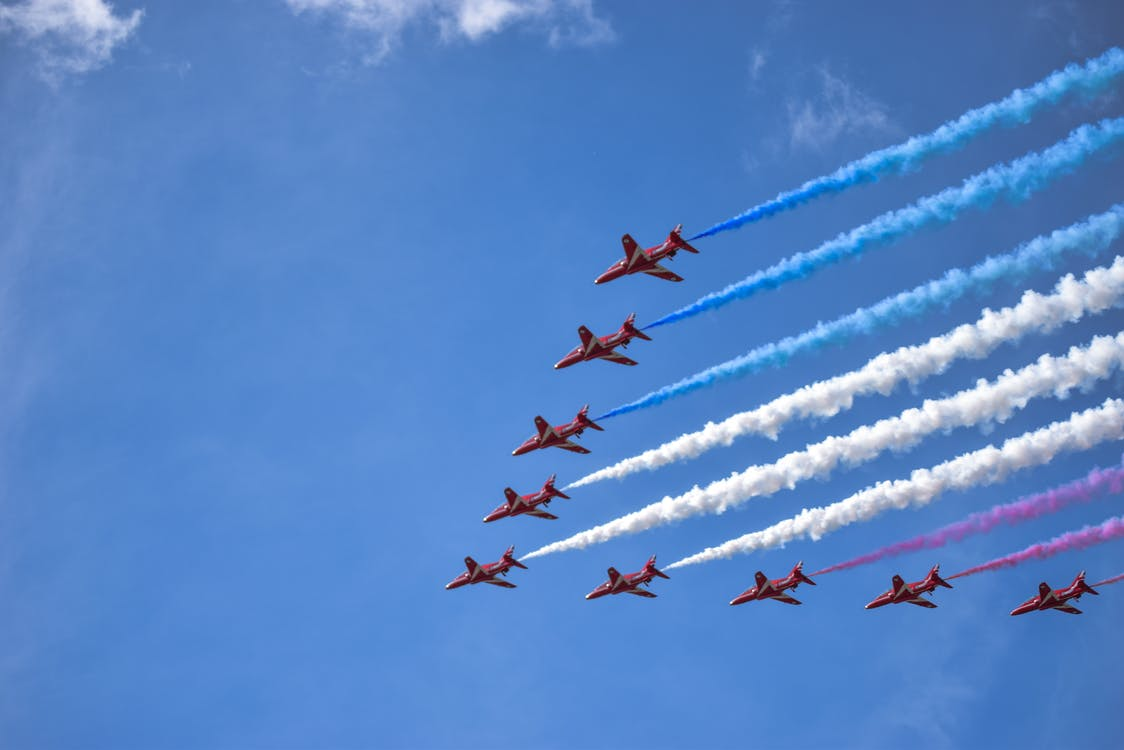 Nine Brown Jet in Sky