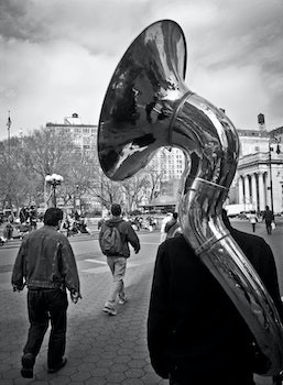 Free stock photo of black-and-white, city, walking, music