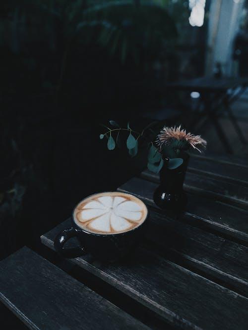 Black Ceramic Mug With Latte