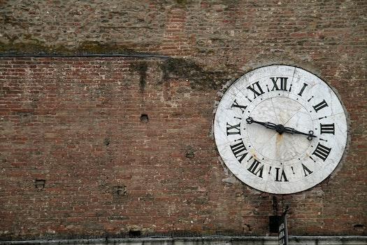 Free stock photo of old, clock, brick wall, roman