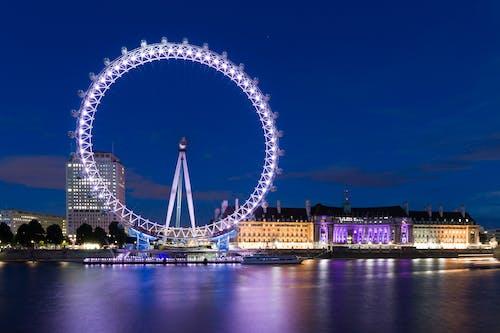 Základová fotografie zdarma na téma architektura, budova, lehký, London Eye