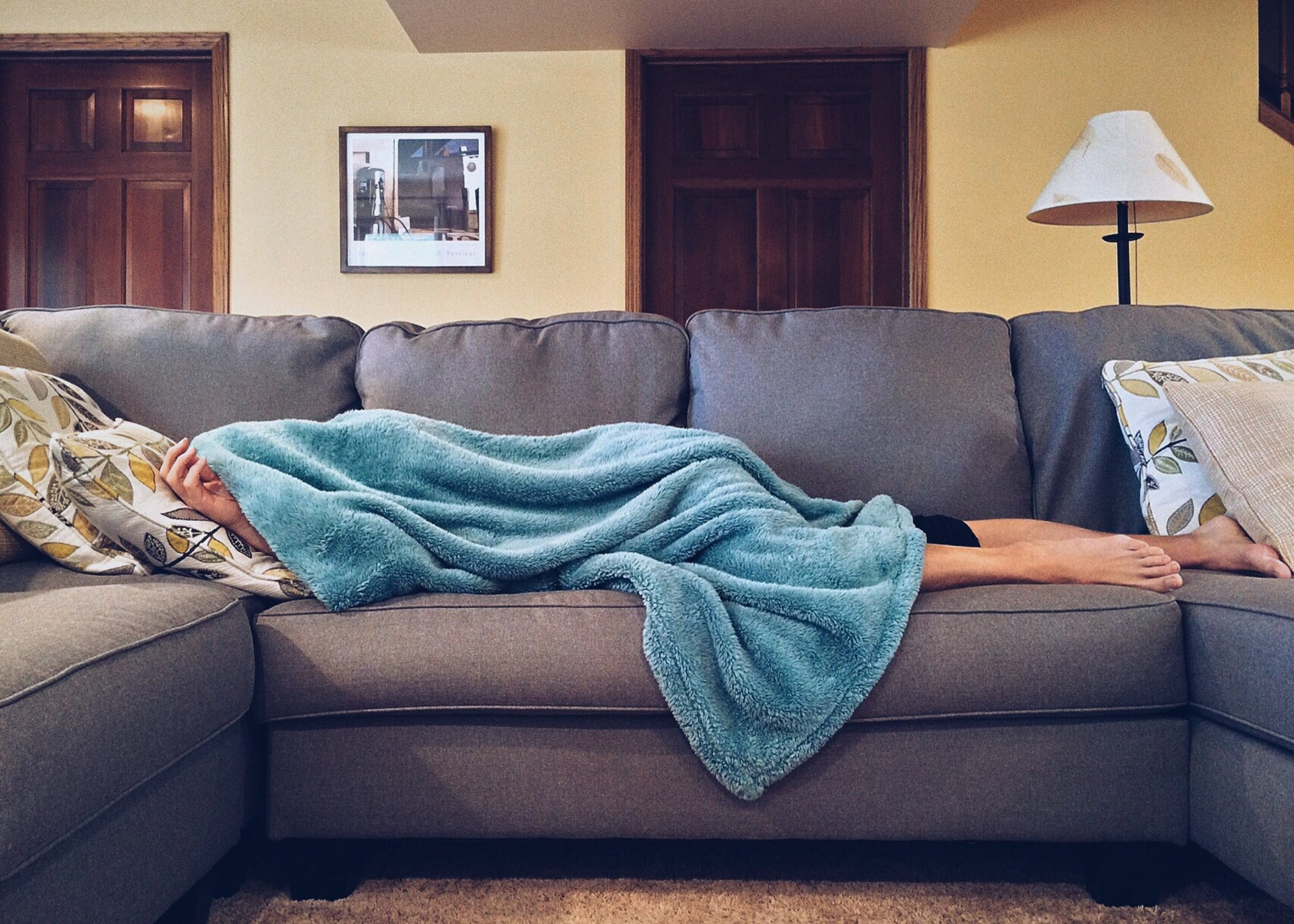 Guy sleeping on couch