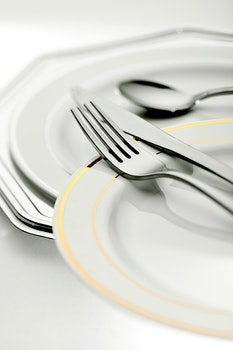 Free stock photo of plate, spoon, table, blur