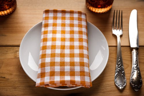 Plate Beside Fork and Table Knife