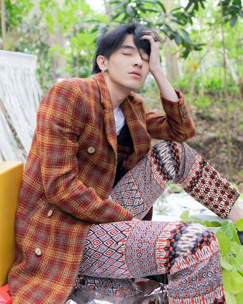 Imagine de stoc gratuită din bărbat asiatic, carouri, îmbracă, la modă