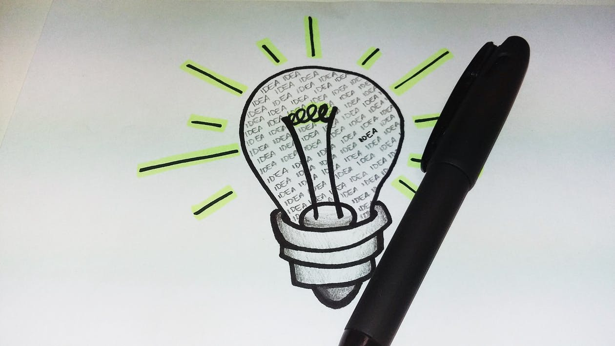 drawing, light bulb, pen