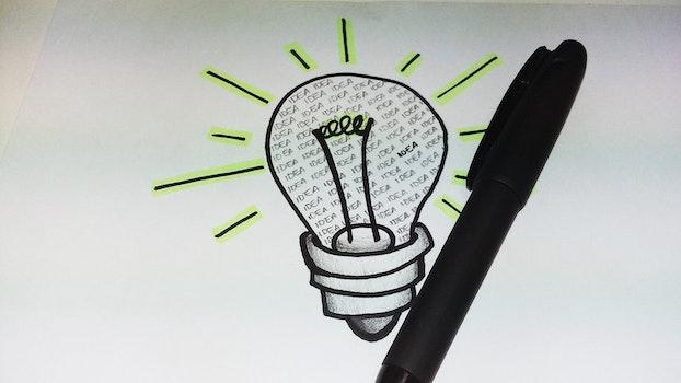 Free stock photo of pen, light bulb, idea, drawing