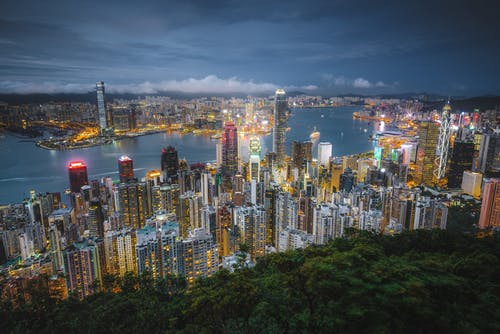 Foto d'estoc gratuïta de hong kong, port de victòria, vista nocturna