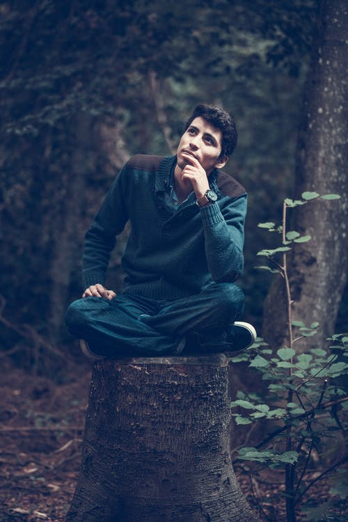 Man in Green Sweater Sitting Near Trees