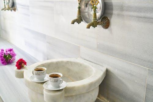 一杯咖啡, 下沉, 咖啡, 大理石表面 的 免費圖庫相片