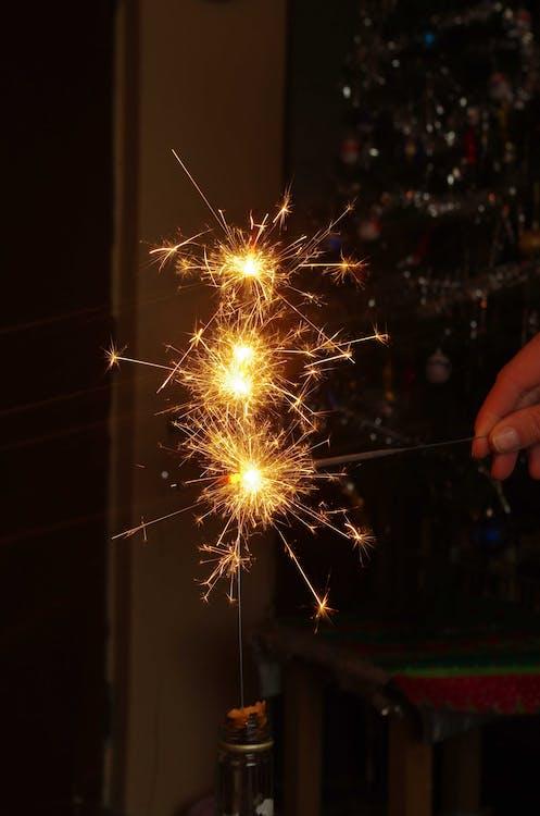 ano novo, borrão, brilhante
