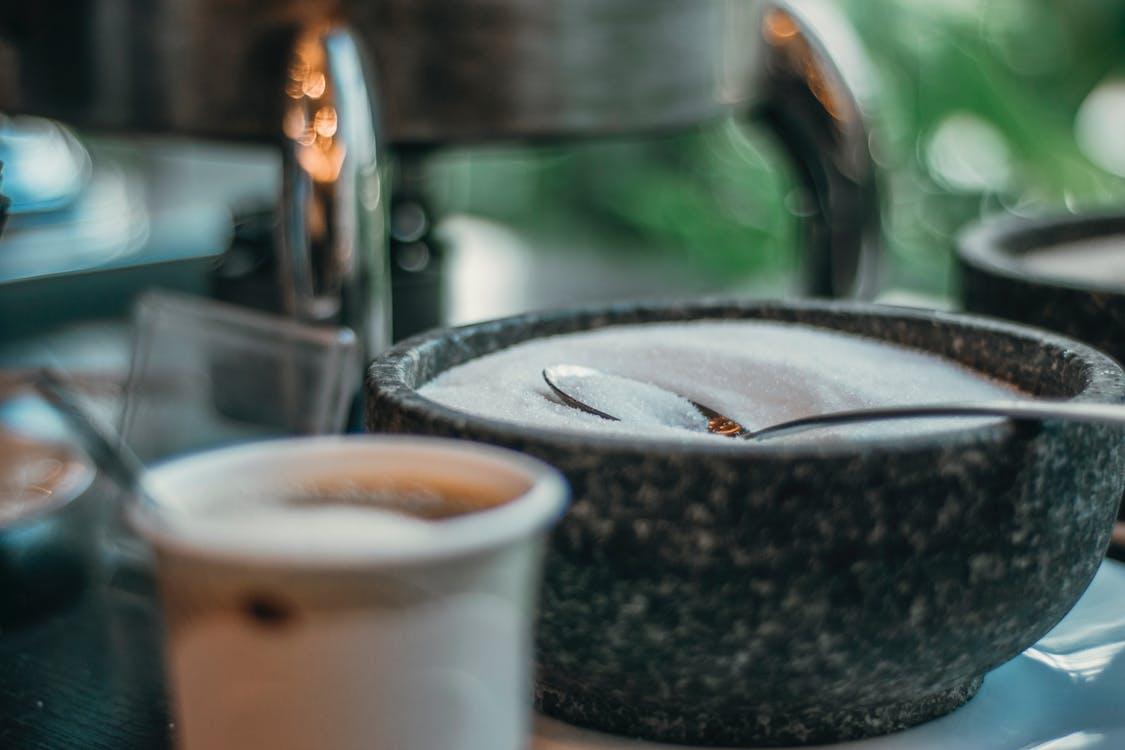 caféine, cuillère, sucré