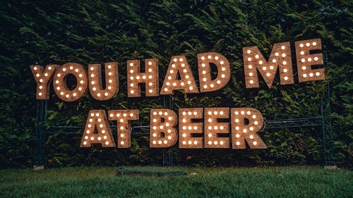 You Had Me At Beer Lighted Signage by the Trees