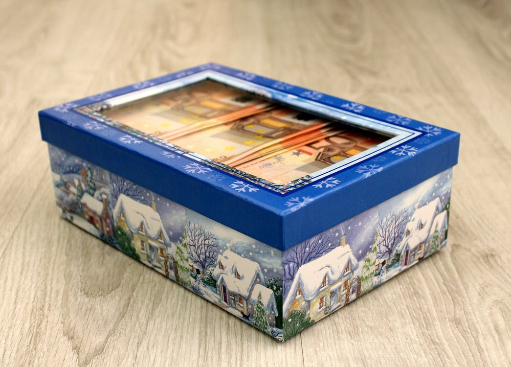Blue and White Christmas Box