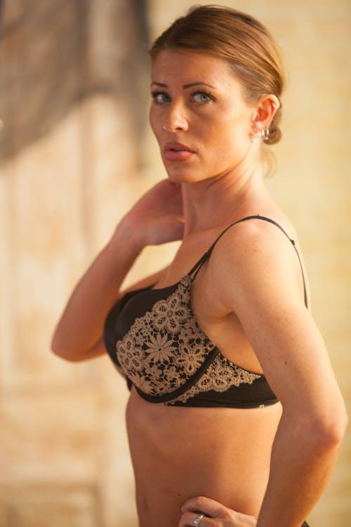 Free stock photo of 20-25 years old woman, beautiful woman, black bra, blonde