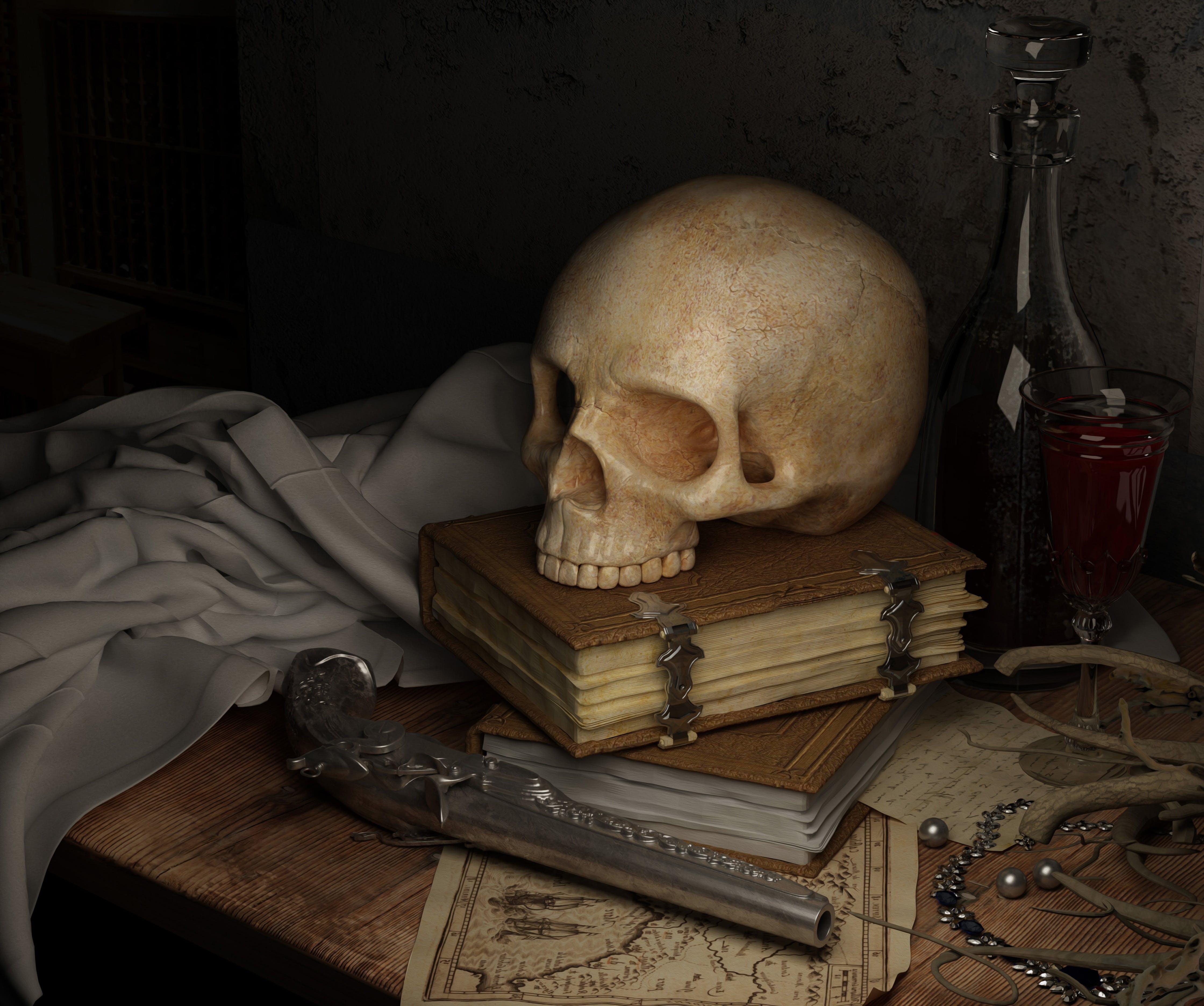 book, dark, gun